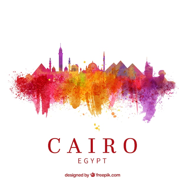 Watercolor cairo skyline with elegant style Free Vector