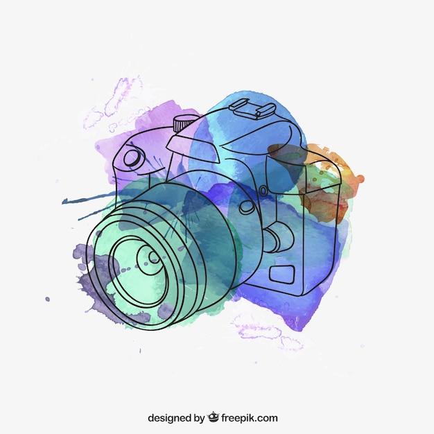 Watercolor camera Free Vector