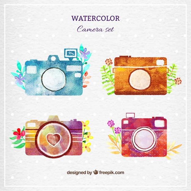 Watercolor cameras set Premium Vector