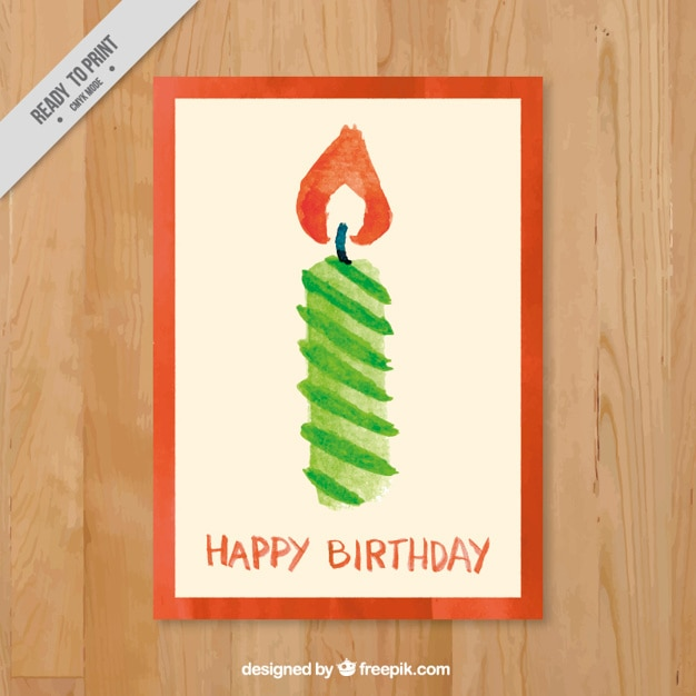 Watercolor candle birthday card