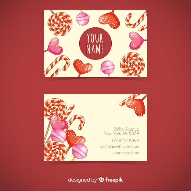 Watercolor candy business card template Free Vector