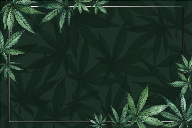 Watercolor cannabis leaf background with empty space Free Vector