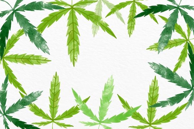 수채화 대마초 잎 배경 무료 벡터