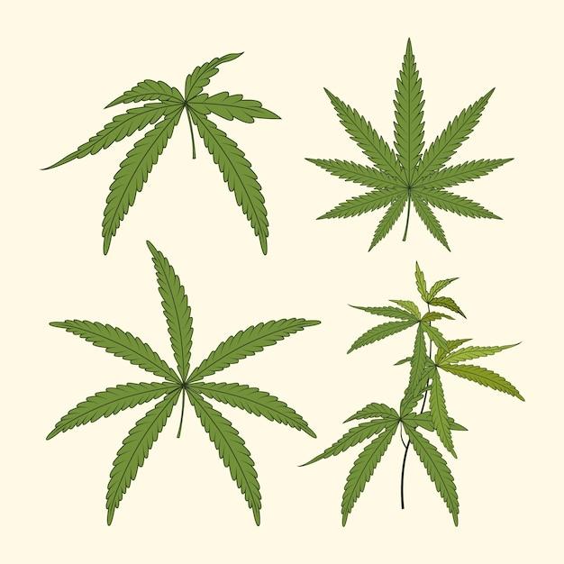 수채화 대마초 잎 세트 무료 벡터