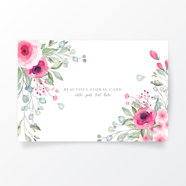 Watercolor card template with lovely flowers Free Vector