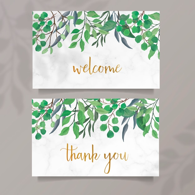 Watercolor cards with green leaves Free Vector