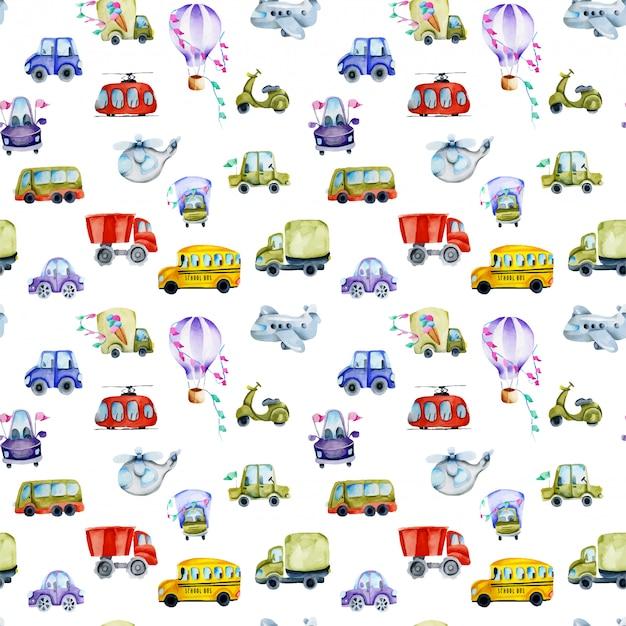Watercolor cars and air transport seamless pattern Premium Vector