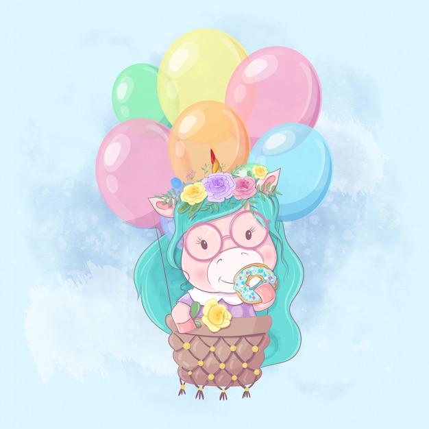 風船でかわいいユニコーン少女の水彩漫画イラスト Premiumベクター