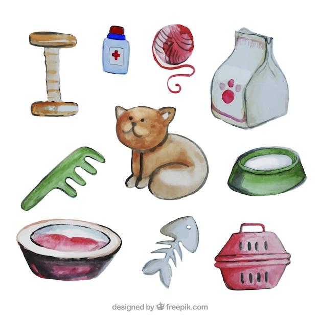 Watercolor cat elements