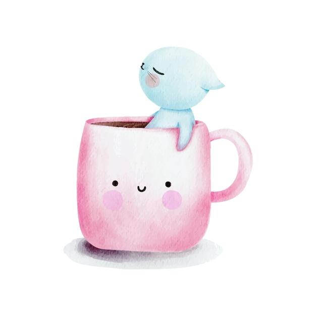 コーヒーカップの水彩猫 無料ベクター