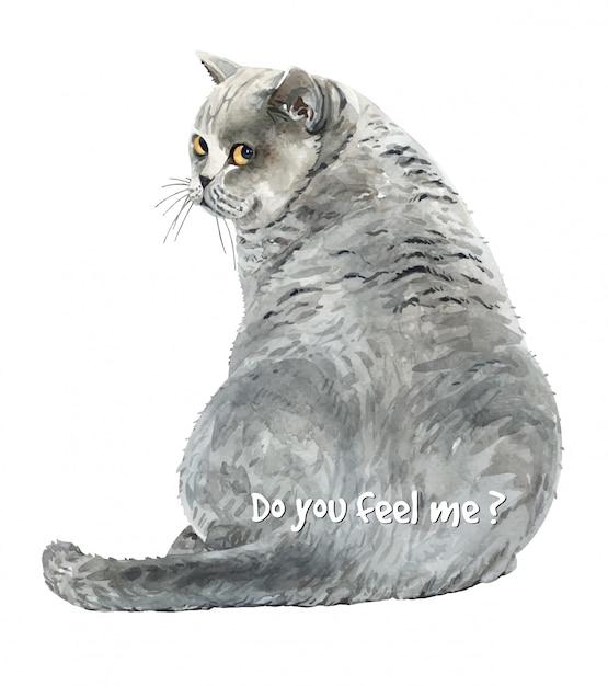Watercolor cat sitting looking back. Premium Vector