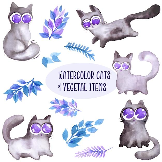 水彩の猫と葉のコレクション Premiumベクター