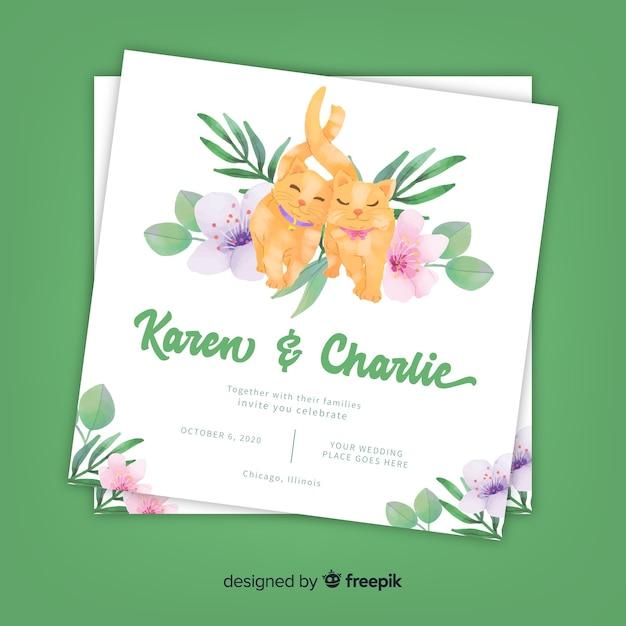 Watercolor cats wedding invitation template Free Vector