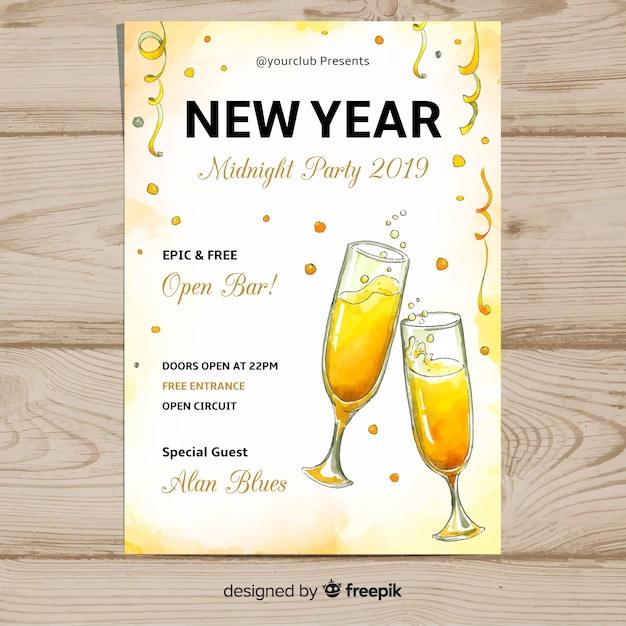 Watercolor champagne new year poster Free Vector