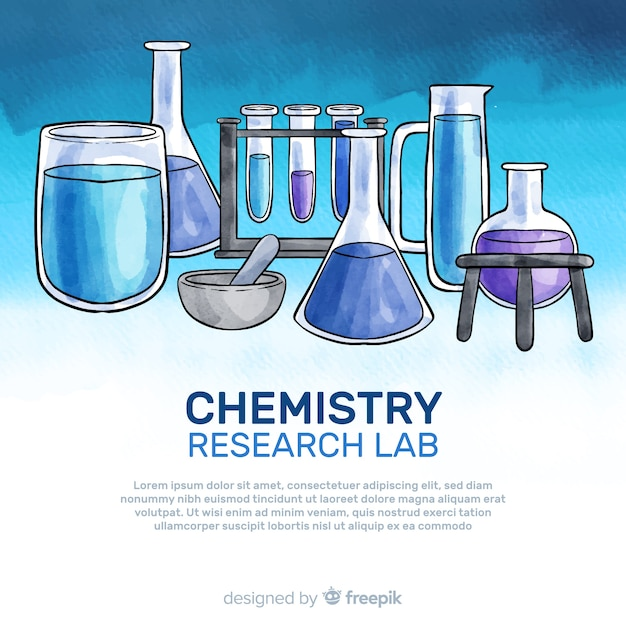 Watercolor chemistry background Free Vector