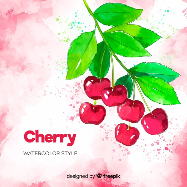 Watercolor cherries background Free Vector