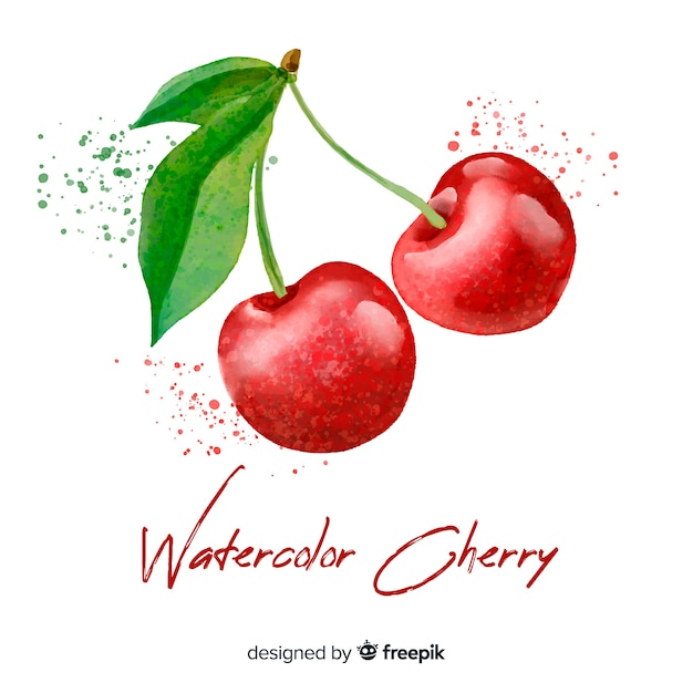 Watercolor cherry background Free Vector