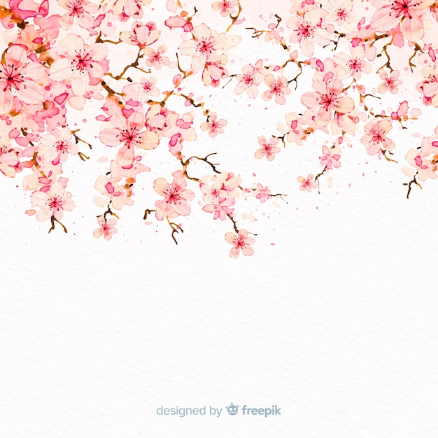 Watercolor cherry blossom branch background Free Vector