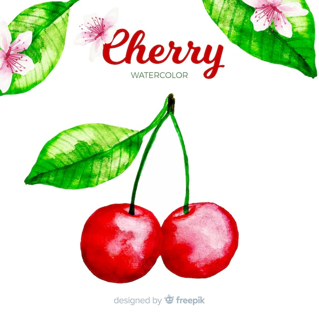 Watercolor cherry Free Vector