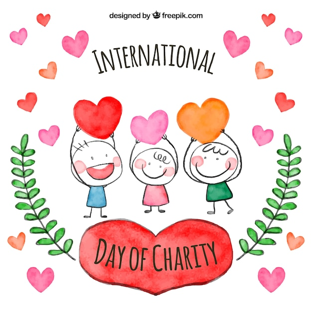 Watercolor children on internatinal day of charity Free Vector