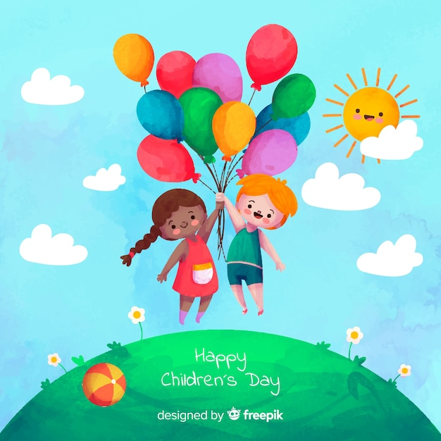 Watercolor children's day background Free Vector