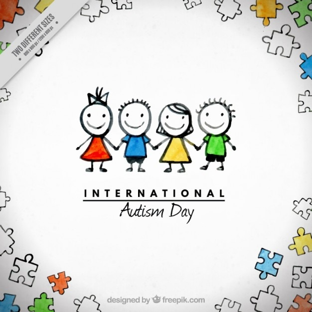 Watercolor Children Together Background Free Vector