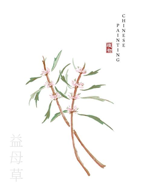 植物の水彩中国インクペイントアートイラスト Premiumベクター