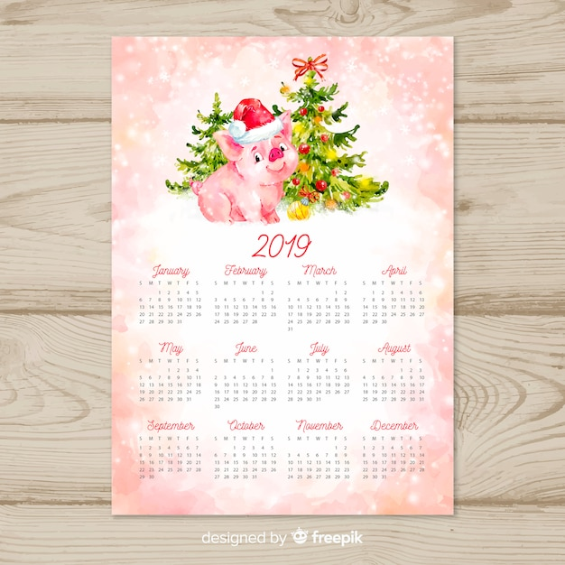 Watercolor chinese new year 2019 calendar Free Vector