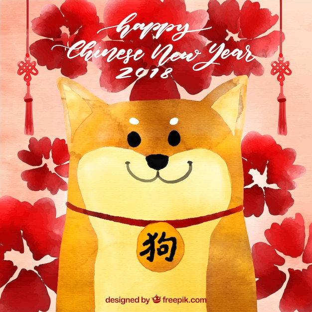 Watercolor chinese new year background Free Vector