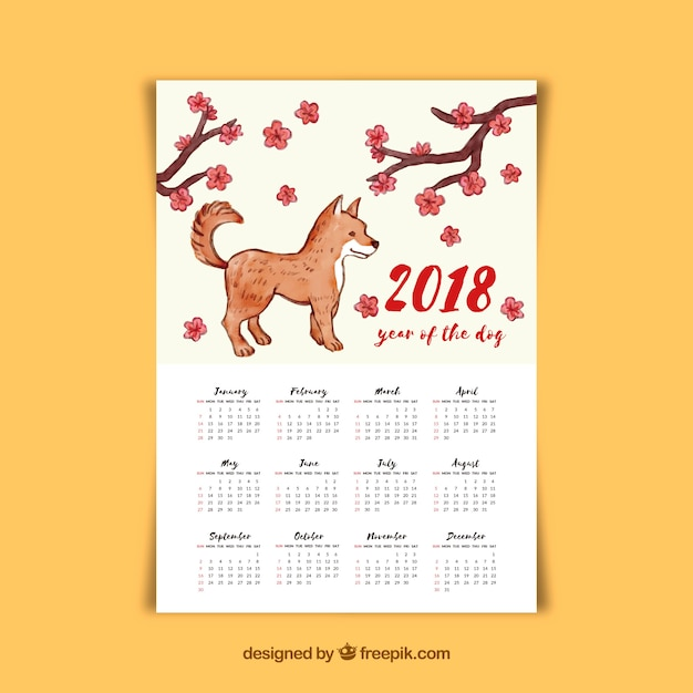 Watercolor chinese new year calendar Free Vector
