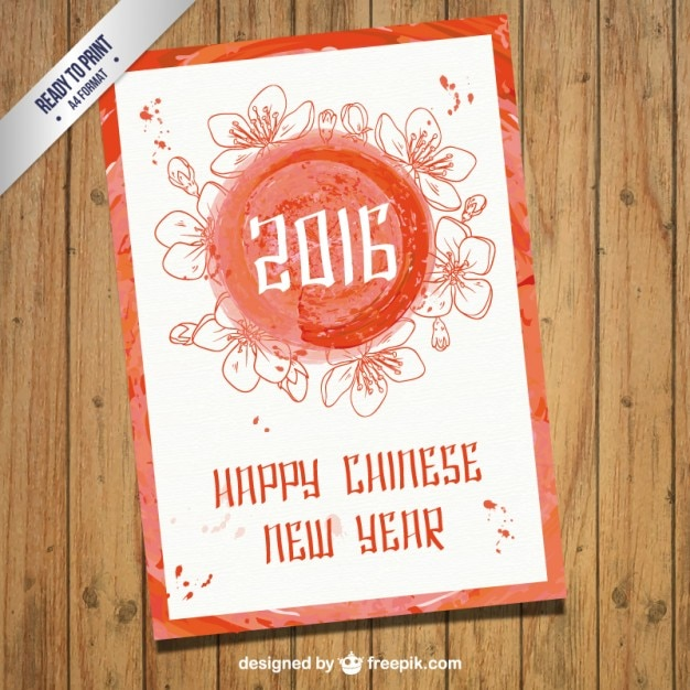watercolor chinese new year card free vector