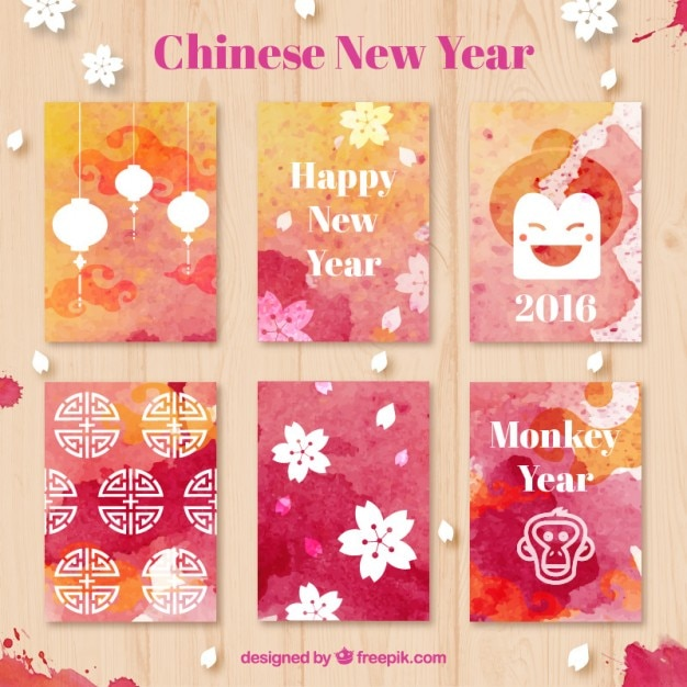watercolor chinese new year cards free vector