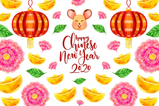 Watercolor chinese new year concept Free Vector