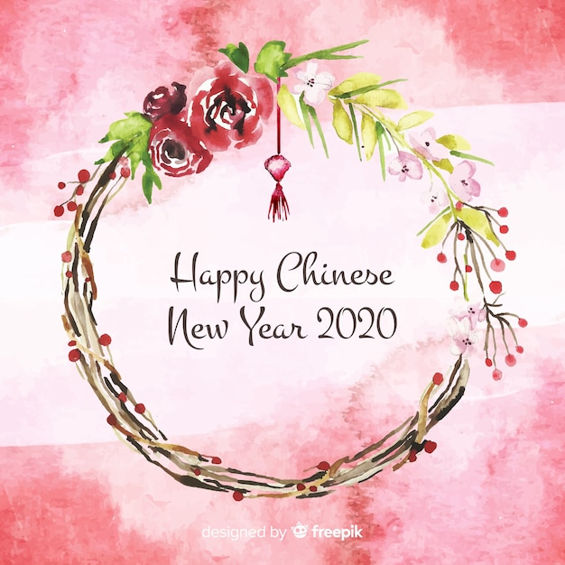 Watercolor chinese new year Free Vector