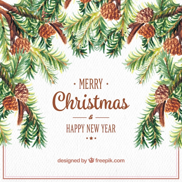 watercolor christmas and new year background with pine nuts free vector