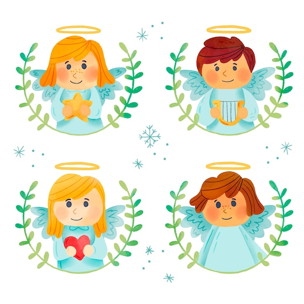 Watercolor christmas angel collection Free Vector