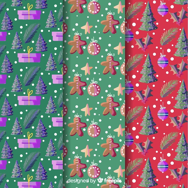 Watercolor christmas background collection Free Vector
