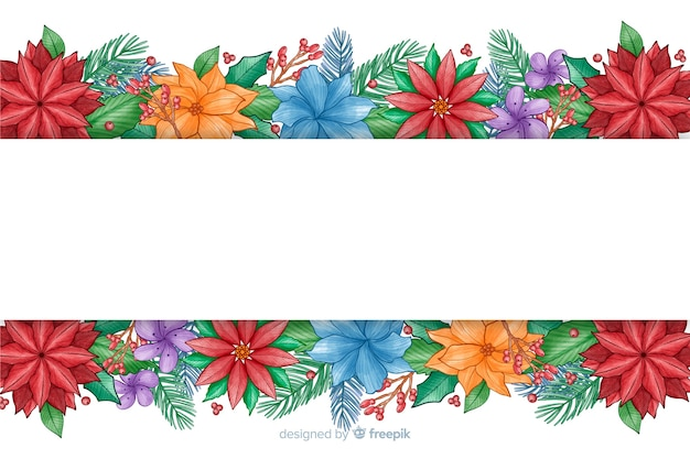 Watercolor christmas background with colorful flowers Free Vector