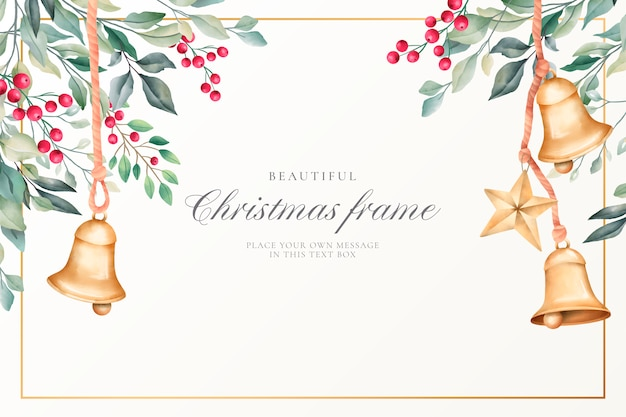 Watercolor christmas background with cute decoration Free Vector