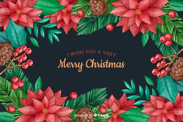 Watercolor christmas background with flower Free Vector