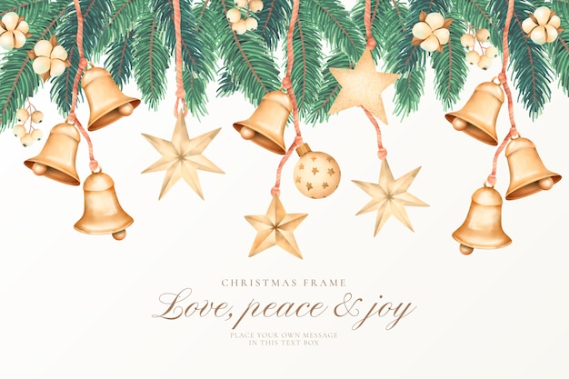 Watercolor christmas background with golden ornaments Free Vector