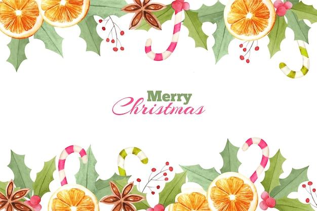 オレンジと水彩のクリスマスの背景 無料ベクター