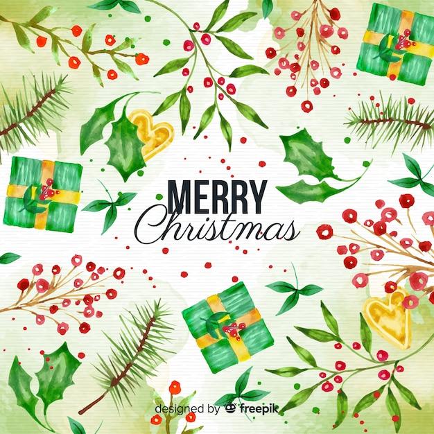 Акварельный рождественский фон с подарками и омелой Бесплатные векторы
