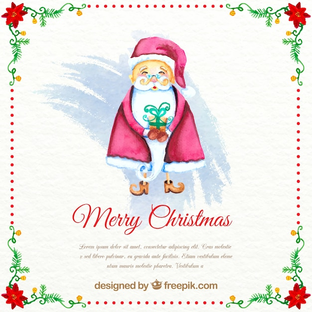 Watercolor christmas background with santa\ claus and template