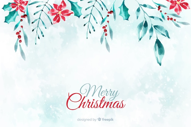 Watercolor christmas background Free Vector