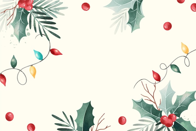 Watercolor christmas background Premium Vector