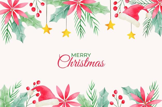 水彩のクリスマスの背景 Premiumベクター