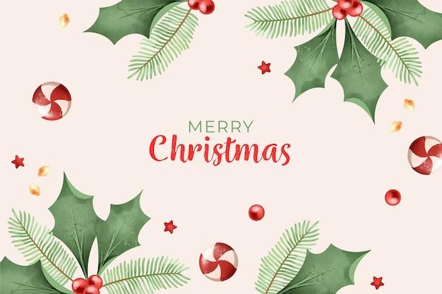 Merry Christmas Wallpaper Watercolor