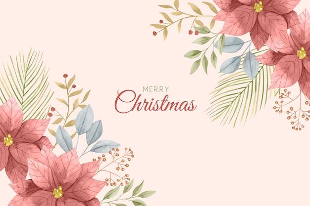 水彩のクリスマスの背景 無料ベクター