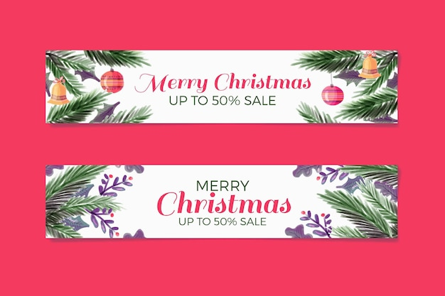 Watercolor christmas banners with discount Free Vector